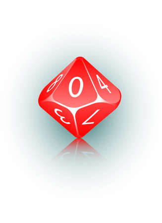 probability: An abstract vector illustration of a 10-sided die. Illustration