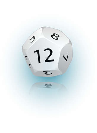 probability: An abstract vector illustration of a 12-sided die.