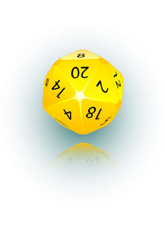 An abstract vector illustration of a 20-sided die. Illustration