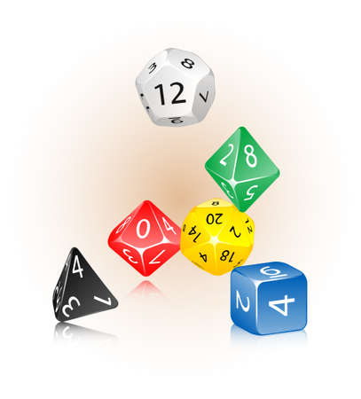 probability: An abstract vector illustration of a dice set.