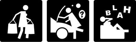 cliche: Una tira c�mica de vector abstracto, que representa a algunas de las actividades de una mujer.