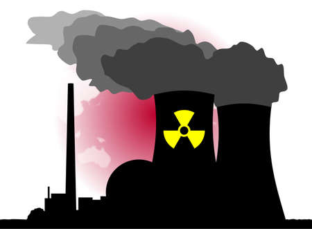 atomic energy: An abstract vector illustration of a nuclear power plant and its dangers.