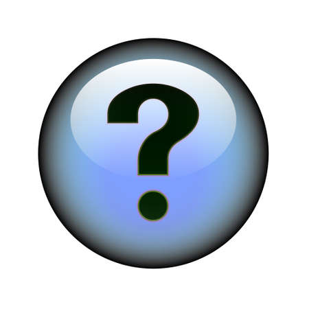 A circular question mark web button. Vector