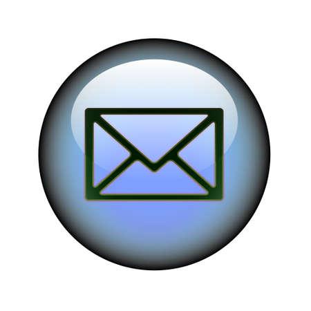 A circular postal envelope web button. Illustration