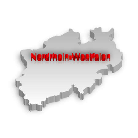 A simple 3D map of North Rhine-Westphalia. Stock Vector - 9189499