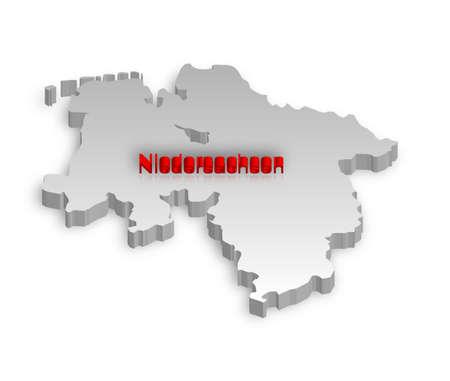 Una semplice mappa tridimensionale della Bassa Sassonia.