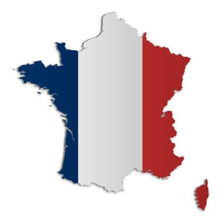 Una semplice mappa tridimensionale della Francia.