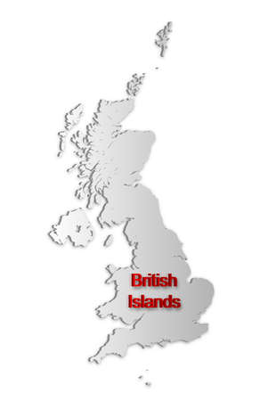 A simple 3D map of the British Islands. Vector