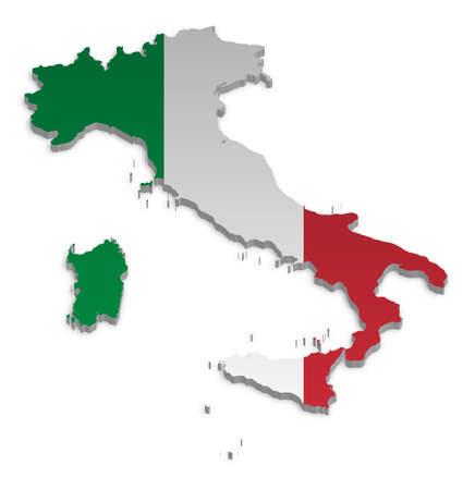 european maps: A simple 3D map of Italy.