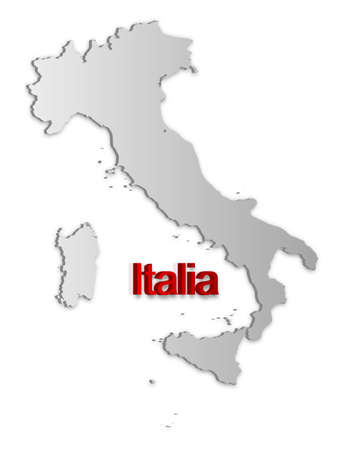 A simple 3D map of Italy. Stock Vector - 9187755