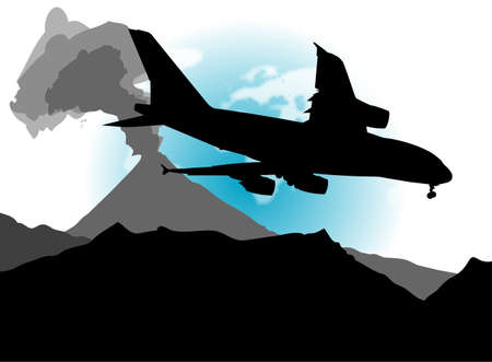An abstract vector illustration of an airplane and a landscape, containing an active volcano.