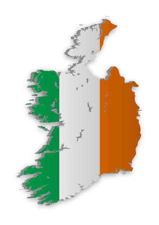 bandera de irlanda: Un simple mapa 3D de Irlanda.
