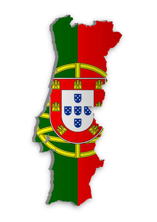 Una semplice mappa 3D del Portogallo. Vettoriali
