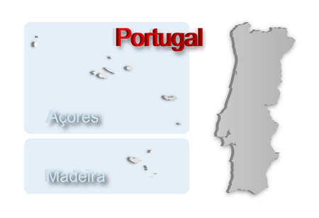 A simple 3D map of Portugal. Vector