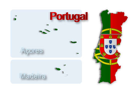 A simple 3D map of Portugal. Stock Vector - 9417657