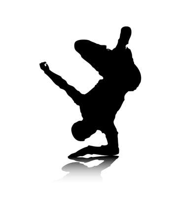 An abstract vector illustration of a break-dancer, who is balancing on his elbow. Vector