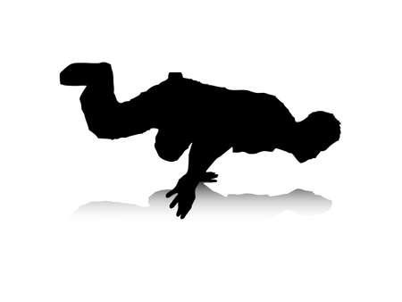 Una illustrazione vettoriale astratto di un break-dancer, che � in equilibrio su una sola mano.