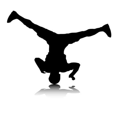 moves: An abstract vector illustration of a break-dancer, who is doing a head spin. Illustration