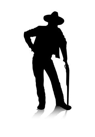 An abstract vector illustration of a man, who is posing with a gun. Vector