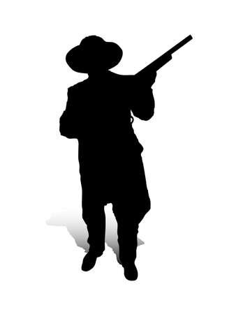 Una illustrazione vettoriale astratto di un uomo, che � in posa con una pistola.