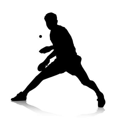 table tennis: An abstract vector illustration of a table tennis player during a return.