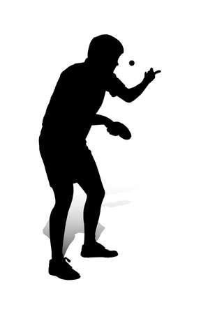Una illustrazione vettoriale astratta di un giocatore di tennis tavolo nel corso di un servizio. Vettoriali