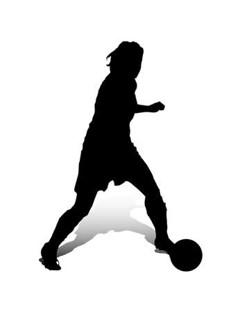 An abstract vector illustration of a (female) striker during a dribbling.