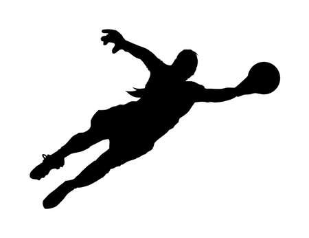 diving save: An abstract vector illustration of a (female) goalie during the save of a shot. Illustration