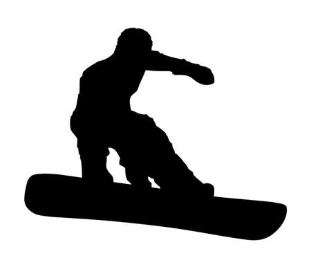 grabbing: An abstract vector illustration of a snowboarder during a grab.