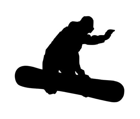 An abstract vector illustration of a snowboarder during a grab. Vector