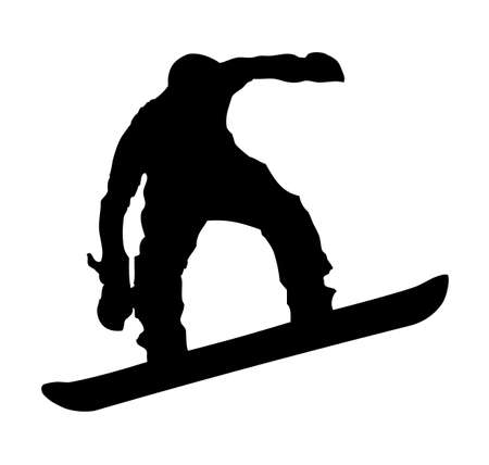 An abstract vector illustration of a snowboarder during a jump.