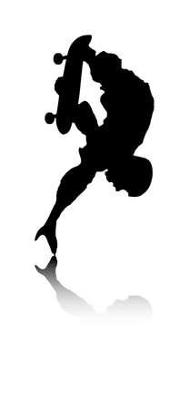 Una illustrazione vettoriale astratta di un skateboarder durante una verticale. Vettoriali