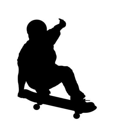 Una illustrazione vettoriale astratta di un skateboarder nel corso di una gru a benna. Vettoriali