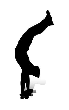 An abstract vector illustration of a skateboarder during a handstand.