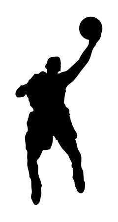 Un Abstract illustrazione vettoriale di un giocatore di basket durante un layup.