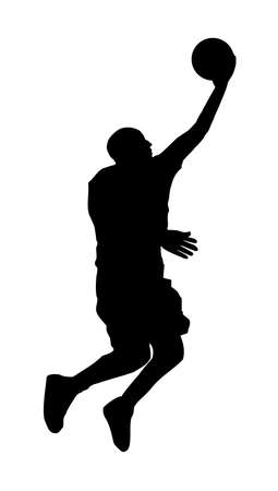 An abstract vector illustration of a basketball player during a layup.