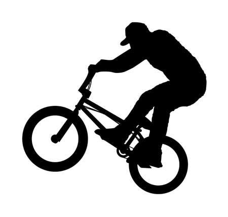 cyclist silhouette: An abstract vector illustration of a BMX rider during a Bunny Hop. Illustration