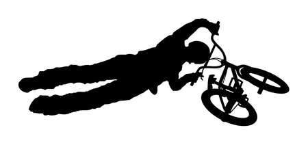 An abstract vector illustration of a BMX rider during a trick.