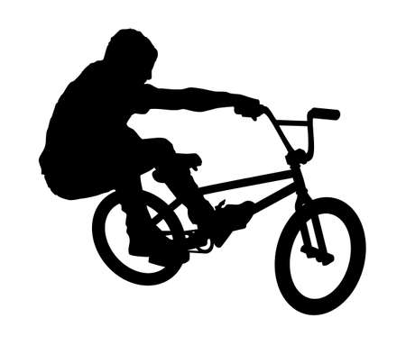 An abstract vector illustration of a BMX rider during a Bunny Hop. Illustration
