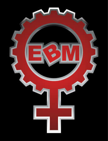 """gear symbol: An abstract vector illustration of a venus symbol gear with the text """"EBM"""" inside."""