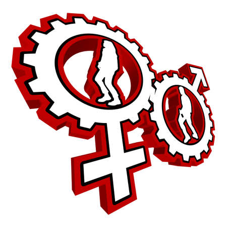 male dancer: An abstract vector illustration of a venus and a mars symbol gear with a female and a male dancer inside.