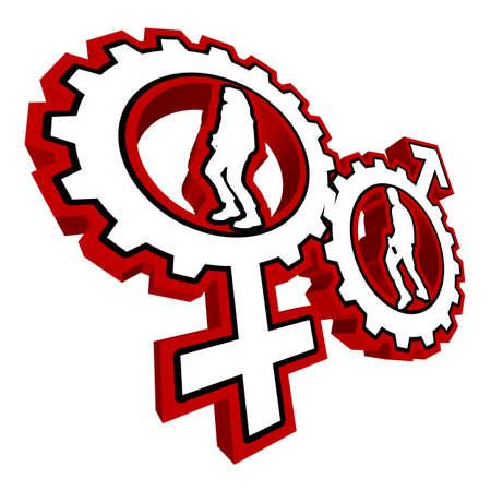 Una illustrazione vettoriale astratto di Venere e Marte simbolo di un ingranaggio con una femmina e un ballerino all'interno.