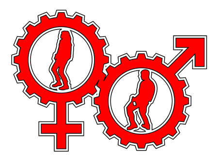 An abstract vector illustration of a venus and a mars symbol gear with a female and a male dancer inside.
