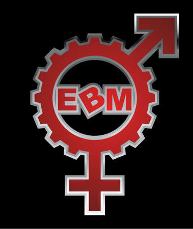 "transgender: An abstract vector illustration of a combination of a venus and mars symbol gear with the text ""EBM"" inside. Editorial"