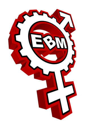 """An abstract vector illustration of a combination of a venus and mars symbol gear with the text """"EBM"""" inside. Stock Vector - 11989592"""