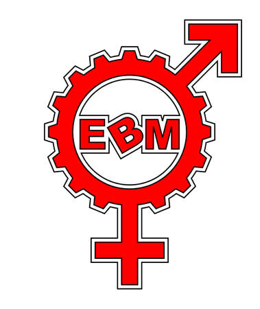 An abstract vector illustration of a combination of a venus and mars symbol gear with the text �EBM� inside. Illustration