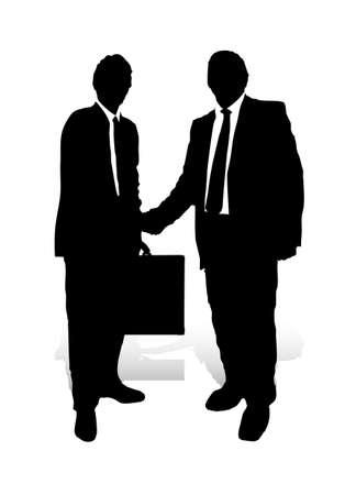 Un'illustrazione astratta di due uomini d'affari durante una stretta di mano