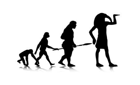australopithecus: An abstract illustration of human evolution  Illustration