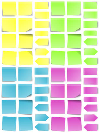 A multicolored set of abstract post-it notes  Vector