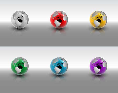globe terrestre dessin: Une illustration vectorielle abstraite ensemble de globes de cristal